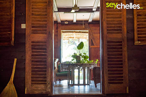 interior of old colonial style house on the seychelles