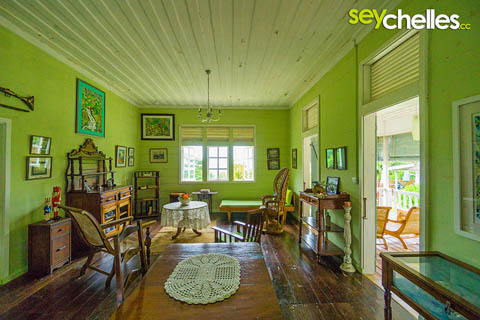 interior of a plantation house - jardin du roi mahe, seychelles