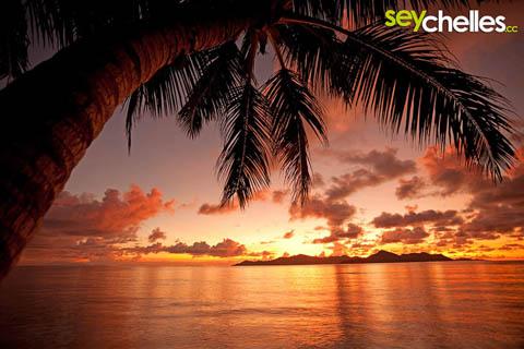 sunset on anse la reunion at the la digue island lodge