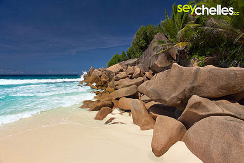 rocks on the southern end of la digue