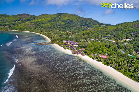 aerial of anse forbans with the double tree allamanda