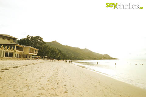 beau vallon beach on mahe with hotels